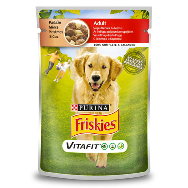 Friskies Adult Biftek ve Patatesli Pouch Yetişkin Köpek Konservesi 100 Gr